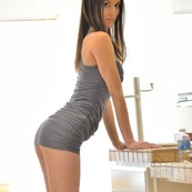 Brunettes in mini dress