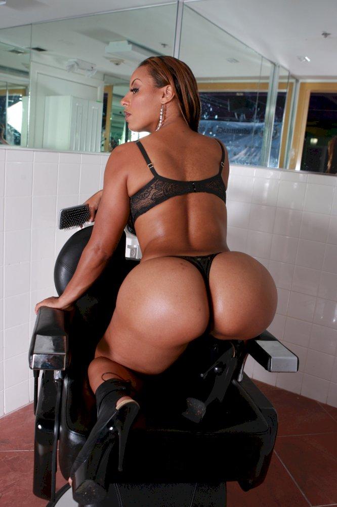 Black girl white thong