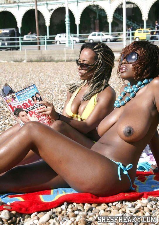 Busty Ebony Topless On The Beach - Shesfreaky-4061