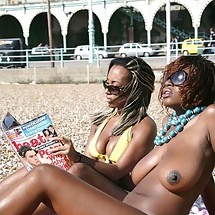 Busty Ebony Topless on the beach