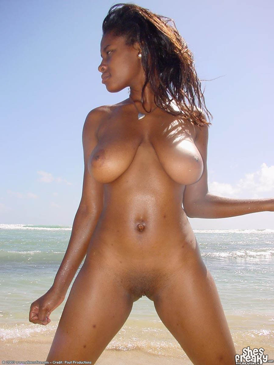 Girl beach naked american black in