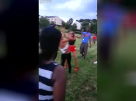 Black girl fights with her pierced tits out