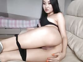 Sexy Slim Asian Chick Playing