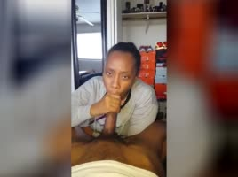 Ebony gf eating the dick