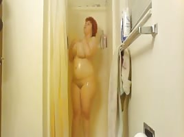 Busty BBW Taking a Shower