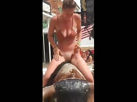 Girl loses her pants on a rodeo