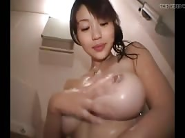 Big tits Asian girl in the shower