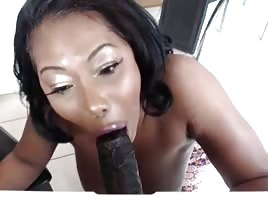 Shorty giving sloppy head to dildo