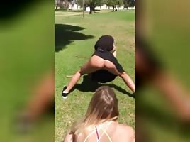 NASTY LATINAS PUSSY SHOWING PUSSY IN PARK