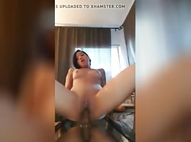 Asian and black Thot riding her dildo
