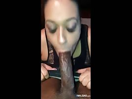 Dominican leather swallowing a big cock