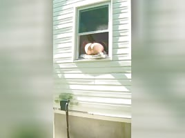 Squirting her pussy out of window lol