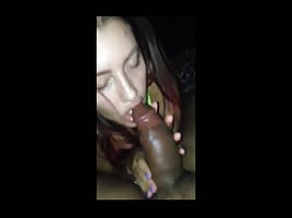 Long hair big tits hungarian cock sucker slurps on big brown