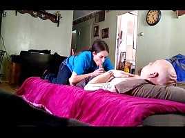 Skinny amatuer milf sucking dick swallowing