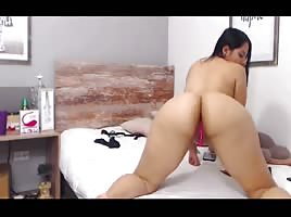 latina stepsister fucking her wall dildo deep inside