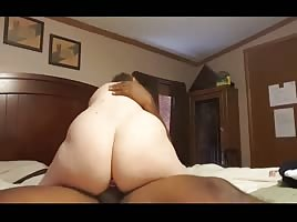 Married white slut riding black cock