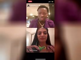 Persian beauty flashes on Michael Blackson's live